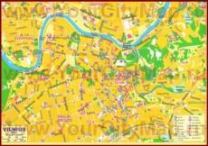 Карта центра города Вильнюс с достопримечательностями