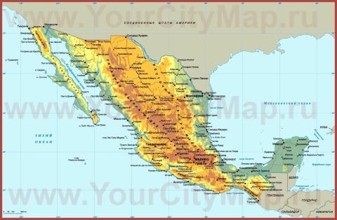 Города Мексики на карте