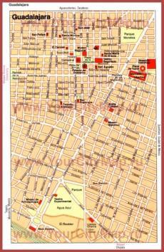 Карта Гвадалахары с достопримечательностями
