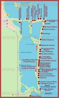 Туристическая карта Канкуна с отелями
