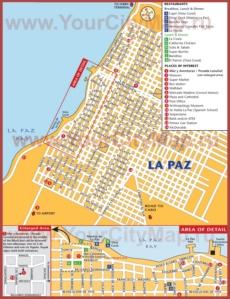 Подробная карта Ла-Паса с достопримечательностями и ресторанами