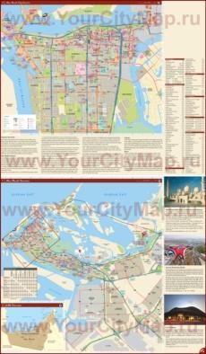 Подробная туристическая карта города Абу-Даби с отелями и достопримечательностями