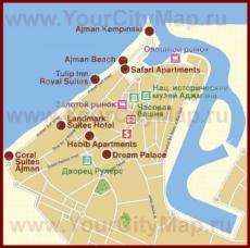 Карта отелей Аджмана