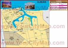 Туристическая карта Аджмана с отелями, достопримечательностями и магазинами