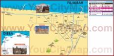 Туристическая карта Фуджейры с отелями, достопримечательностями и магазинами