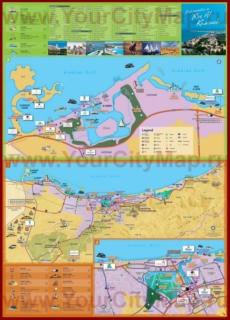 Подробная туристическая карта города Рас-эль-Хайма с отелями и достопримечательностями