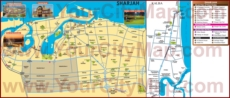 Туристическая карта Шарджи с достопримечательностями, отелями и магазинами