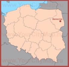 Белосток на карте Польши