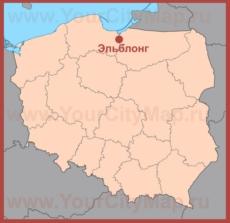 Эльблонг на карте Польши