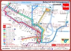 Карта маршрутов трамвая Гданьска