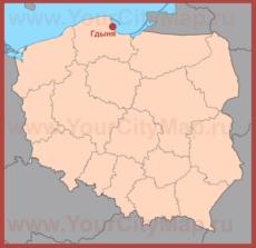 Гдыня на карте Польши