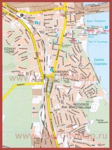 Туристическая карта Гдыни с достопримечательностями