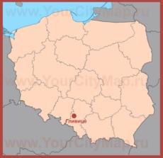 Гливице на карте Польши