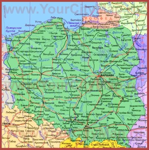 Города Польши на карте