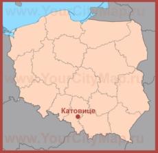 Катовице на карте Польши