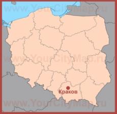 Краков на карте Польши