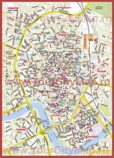 Туристическая карта Кракова с достопримечательностями