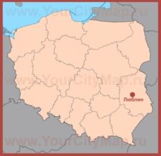 Люблин на карте Польши