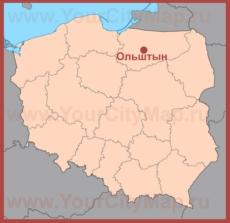 Ольштын на карте Польши