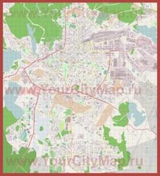 Подробная карта города Ольштын с магазинами