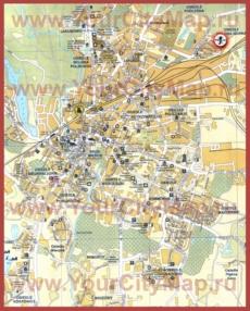 Туристическая карта Ольштына с отелями и достопримечательностями