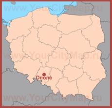 Ополе на карте Польши