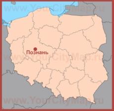 Познань на карте Польши