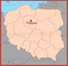 Торунь на карте Польши