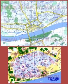 Туристическая карта Торуни с достопримечательностями