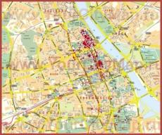 Туристическая карта центра Варшавы с отелями