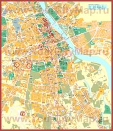 Туристическая карта Варшавы с достопримечательностями