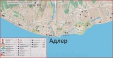 Карта Адлера с Олимпийским парком