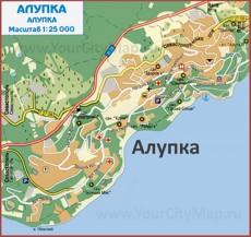 Карта Алупки с санаториями