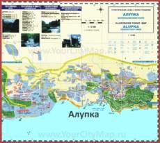 Туристическая карта Алупки с отелями и гостиницами