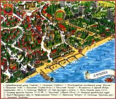 Туристическая карта Алушты с достопримечательностями