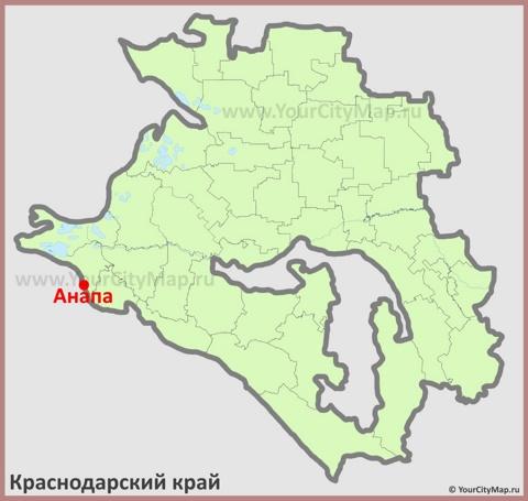 Анапа на карте Краснодарского Края