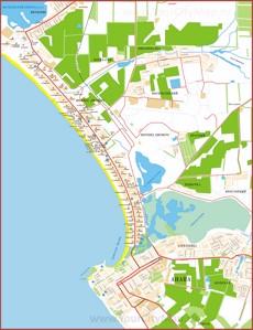 Карта побережья Анапы с отелями, базами отдыха, пансионатами и санаториями