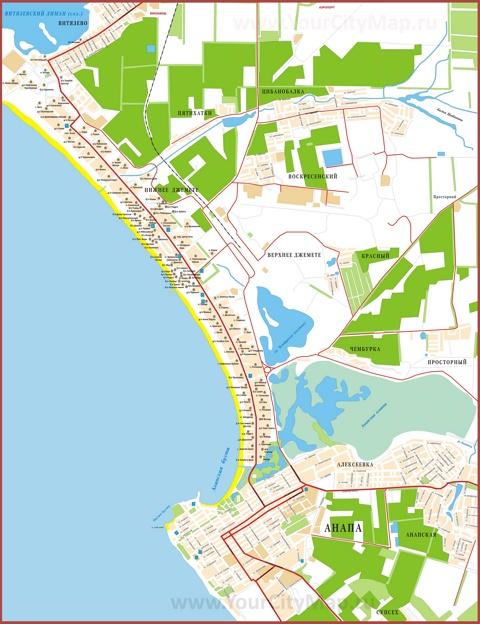 Карта побережья Анапы с отелями, базами отдыха, пансионатами и санаториямиi