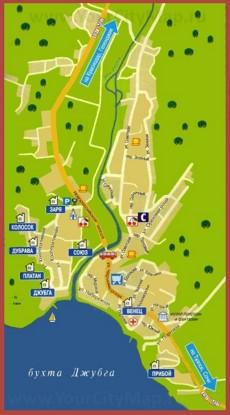 Туристическая карта Джубги