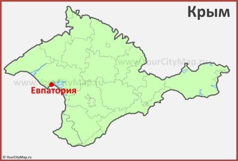 Евпатория на карте Крыма