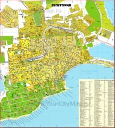 Карта побережья Евпатории с пляжами и гостиницами