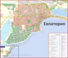 Туристическая карта Евпатории с санаториями и пансионатами