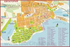 Санатории и пансионаты на карте Евпатории