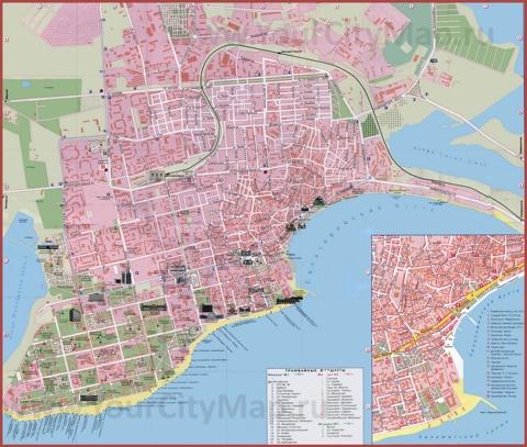 Туристическая карта Евпатории с маршрутами транспорта и достопримечательностями