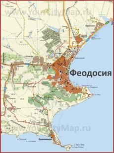 Карта Феодосии с окрестностями