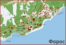 Карта Фороса с санаториями
