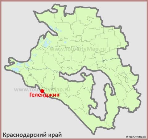 Геленджик на карте Краснодарского Края