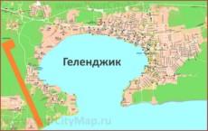 Карта Геленджика с гостевыми домами, отелями и санаториями