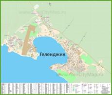 Подробная карта города Геленджик с улицами, домами и гостиницами