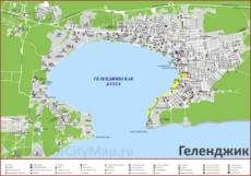 Туристическая карта Геленджика с гостиницами и пляжами